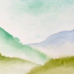 Watercolor painting of gentle mountain peaks in mist