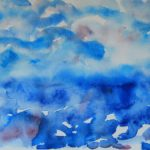 Blue with red watercolor painting of a horizon