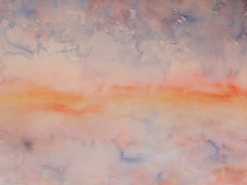 Watercolor painting of orange horizon