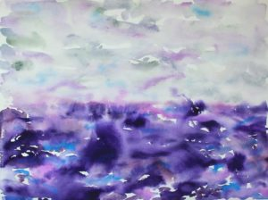 Purple and gray watercolor landscape/seascape painting