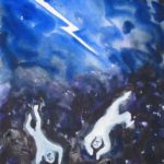 Watercolor painting of two people falling to earth with lightning bolt